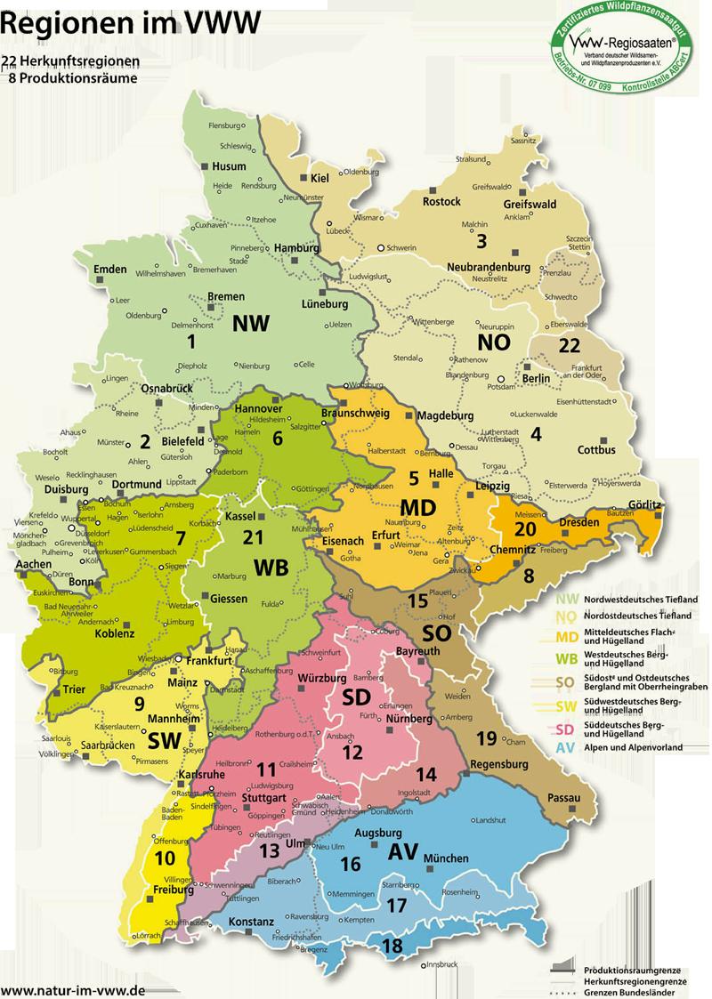 Karte Herkunftsregionen Saatgut